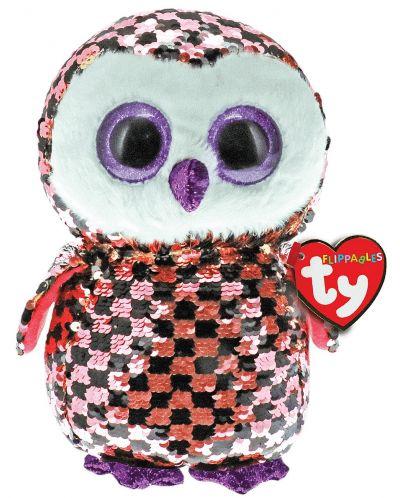 Jucarie de plus cu paiete TY Toys Flippables - Bufnita Checks, 15 cm - 1