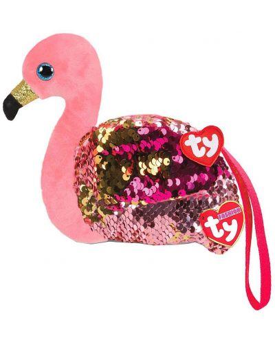 Portofel cu paiete TY Toys - Flamingo Gilda, 10 cm - 1