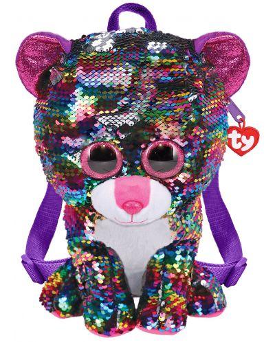 Rucsac de plus cu paiete TY Toys - Leopard Dotty, 25 cm - 1