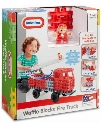 Constructor Little Tikes Waffle Blocks - Masina de pompieri - 5