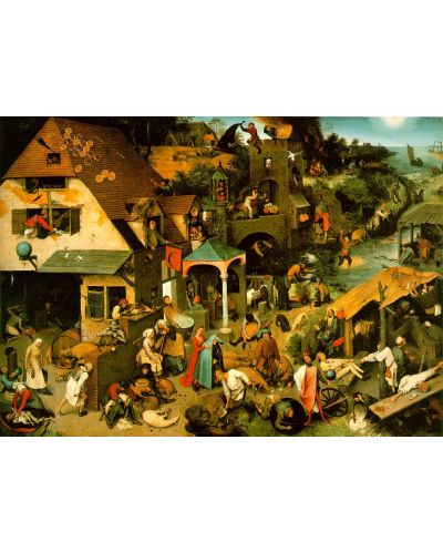 Puzzle D-Toys de 1000 piese – Proverbe olandeze, Pieter Bruegel  - 2