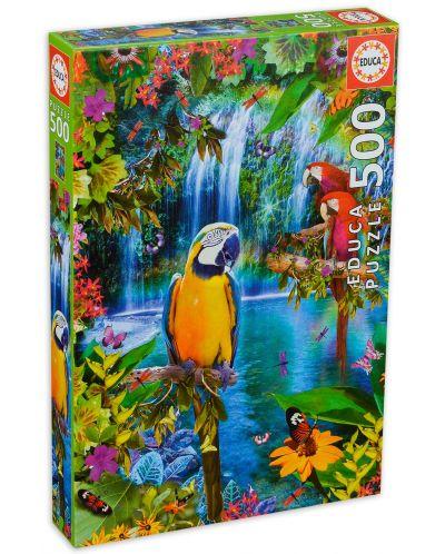 Puzzle Educa de 500 piese - Pasari tropicale - 1