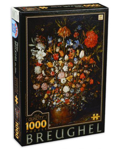 Puzzle  D-Toys de 1000 piese - Pieter Brueghel the Elder, Flower in a Wooden Vasel - 1