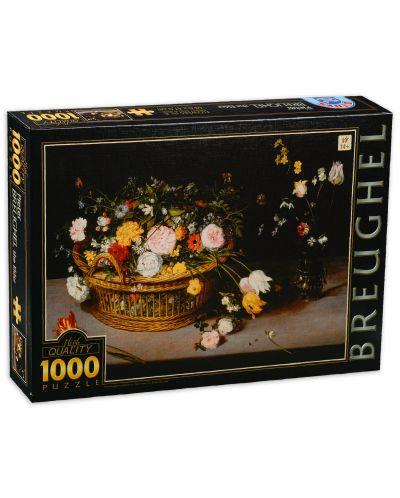 Puzzle  D-Toys de 1000 piese - Pieter Brueghel the Elder, Flower in a Basket and a Vase - 1