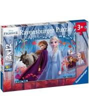 Puzzle  Ravensburger din 2 x 12 piese -  Frozen 2, Calatorie catre necunoscut