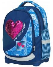 Ghiozdan scolar Target Petit Red Denim Heart - cu 2 fete