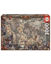 Puzzle Educa de 2000 piese - Harta piratilor