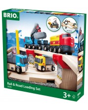 Set Brio - Tren cu sine si accesorii, Rail & Road Loading, 32 de piese -1