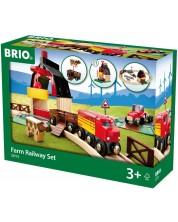 Set Brio - Tren cu sine si accesorii, Ferma, 20 de piese -1