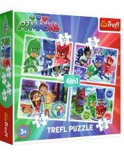 Puzzle Trefl 4 в 1 - Echipa, PJ Masks