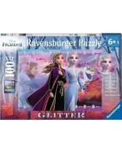 Puzzle stralucitor Ravensburger de 100 XXL piese - Frozen, Forta surorilor