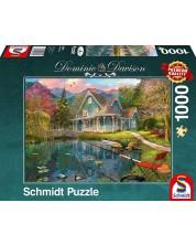 Puzzle Schmidt de 1000 piese - Singura casa de langa lac, Dominic Davison