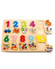 Puzzle din lemn Pino numere - Jucarii si cifre -1