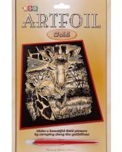 Set creativ pentru gravura KSG Crafts - Girafa, pe baza aurie -1