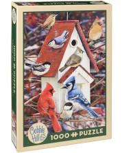 Puzzle Cobble Hill de 1000 piese - Casute de iarna pentru pasari, Greg Giordano