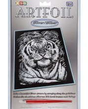 Set creativ pentru gravura KSG Crafts - Tigru, pe baza argintie -1