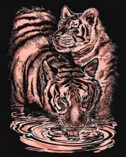 Set creativ pentru gravura KSG Crafts - Tigri, pe baza aurie -1