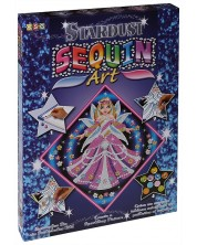 Set creativ KSG Crafts Sequin Art Stardust - Arta cu paiete si brocart, Printesa -1