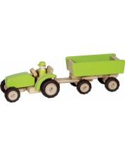 Jucarie din lemn Goki - Masina de constructii, tractor cu remorca -1