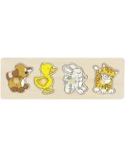 Puzzle din lemn cu manere Goki - Caine, rata, iepure si pisica