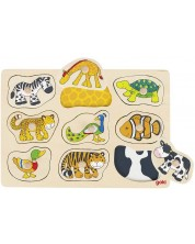 Puzzle din lemn cu manere Goki - Decoratiuni, cu modele ascunse -1