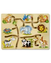 Puzzle-labirint din lemn Pino – Jungla -1