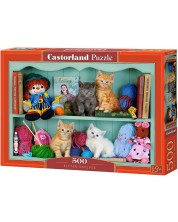 Puzzle Castorland de 500 piese - Kitten Shelves