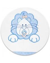 Set 3 piese lenjerie de pat pentru patut bebe Eko - Leu, albastra cu buline albe -1