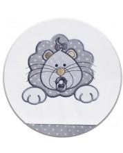 Set 3 piese lenjerie de pat pentru patut bebe Eko - Leu, gri cu buline albe -1