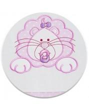 Set 3 piese lenjerie de pat pentru patut bebe Eko - Leu, roz cu buline albe -1
