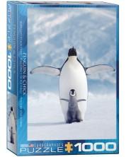 Puzzle Eurographics de 1000 piese – Mama si bebe pinguini