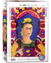 Puzzle Eurographics cu 1000 de piese - Frida Kahlo, portret cu pasari