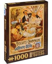 Puzzle D-Toys de 1000 piese - Biscuiti Champagne Lefevre-Utile, Alphonse Mucha