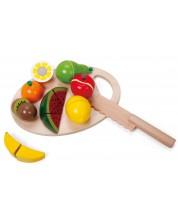 Set de taiat pentru copii Classic World - Fructe, din lemn -1