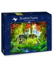 Puzzle Bluebird de 1000 piese - Familie de lupi in timpul verii