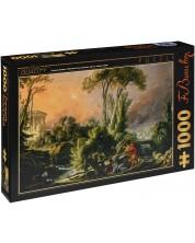 Puzzle D-Toys de 1000 piese - Peisaj fluvial cu templu antic, Francois Boucher