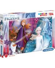 Puzzle stralucitor Clementoni de 104 piese - Frozen 2, Elsa si Anna