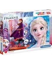Puzzle Clementoni de 104 piese cu pietricele - SuperColor Jewels Puzzle Disney Frozen 2