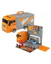 Set de joaca 2 in 1 Bowa - Camion-cutie, service auto, 36 de piese -1