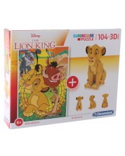 Puzzle Clementoni 104 bucati si model 3D - Regele Leu