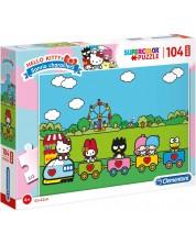 Puzzle Clementoni de 104  piese maxi - SuperColor Maxi Hello Kitty