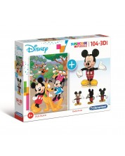 Puzzle Clementoni din 104 piese si model 3D - Mickey Mouse