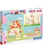 Puzzle Clementoni de 3 x 48 piese - Hello Kitty