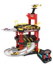 Set de joaca Bowa - Parcare pe 3 nivele, cu 4 masini si elicopter Racing Track, 55 de piese -1