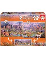 Puzzle  Educa din 2 x 100 piese - Wild Animals