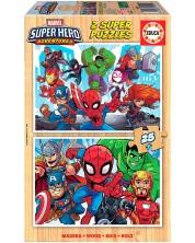 Puzzle Educa din 2 x 25 piese -Super Hero Adventures