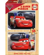 Puzzle Educa din 2 x 16 piese - Cars 3, McQueen si Jackson Storm