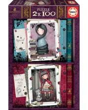 Puzzle Educa Gorjuss de 2 x 100 piese - Little Red Riding Hood, Rapunzel