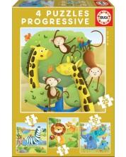 Puzzle Educa 4 in 1 - Animale salbatice