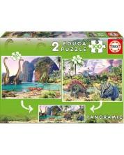 Puzzle Educa din 2 x 100 piese - Dino World